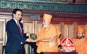 Param Pujya Pramukh Swami Maharaj at British Parliament House of Commance